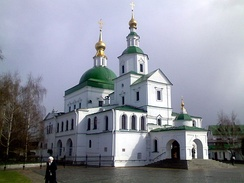 The katholikon consists of three churches: one below and two above.