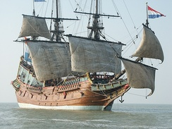 A replica of the Batavia flying a spritsail (lower right) and a sprit-topsail