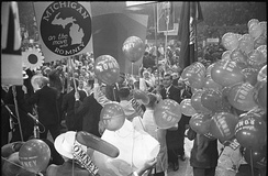 Delegates hold signs and balloons supporting the Michigan governor as a favorite son at the 1964 Republican National Convention