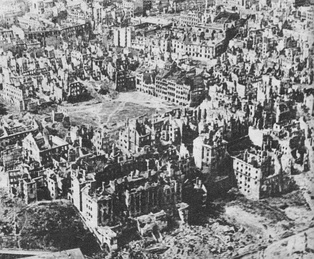 Destroyed capital of Poland, Warsaw, January 1945