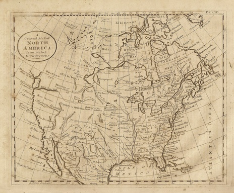 Map of N. America showing California when it was part of New Spain. Map dated 1789 from Dobson's Encyclopedia.