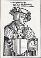 Woodcut portrait, of a young Charles V