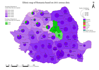 Map of Romanian counties with notable Hungarian presence (2011 census)