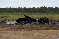 Wreckage of a crashed F-22 near Tyndall Air Force Base, Florida, November 2012