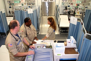 The main patient area inside the Mobile Medical Unit operated in Belle Chasse, Louisiana