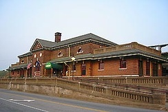 The Fredericksburg train station, formerly of the Richmond, Fredericksburg, and Potomac Railroad