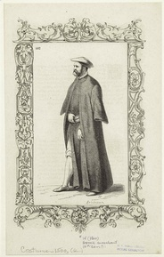 Engraving of a Greek merchant (16th century)