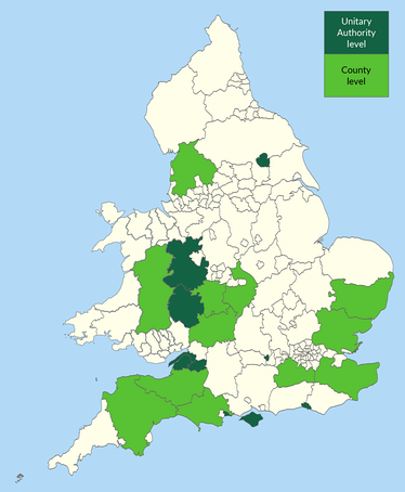 A map showing the representation of the Green Party of England and Wales at the County/Unitary Authority level of government.