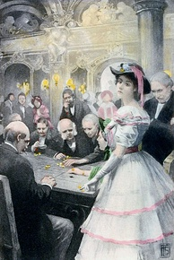 """Gwendolen at the roulette table"" – 1910 illustration to George Eliot's ""Daniel Deronda""."