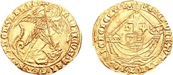 "Gold ""Angel"" coin of Henry's later reign, struck in either London or York, showing the Archangel Michael (hence the coin's name) slaying the Dragon (left), and Henry's shield being carried aboard a ship (right)"