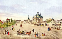 19th-century view of the market square with the St. Lawrence's Church, drawing by Karel Auer