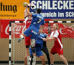 Men's handball - a jump shot (Kiril Lazarov, world record-holder for the number of goals scored in one world championship)