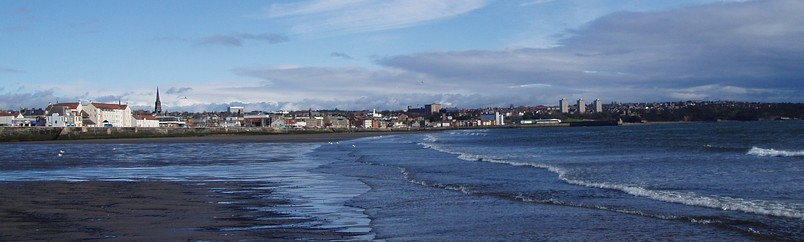 View of Kirkcaldy Bay seen from the beach near Invertiel