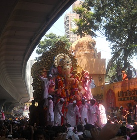 The Laalbaaghcha Raja (the most renowned version of Ganesh in Mumbai) in procession.