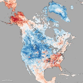 Cold wave in continental North America from Dec-03 to Dec-10, 2013. Red color means above mean temperature; blue represents below normal temperature.