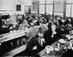 A Montreal soup kitchen in 1931. Like the rest of Canada, unemployment in Montreal was high during the Great Depression.