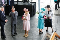 Official opening of the Fourth Assembly at the Senedd in Cardiff, Wales. From left to right: Carwyn Jones, the Prince of Wales, the Duchess of Cornwall, the Queen and Rosemary Butler, 7 June 2011.