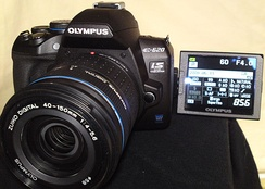 An articulating screen in the Olympus E-620.