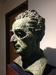 Peter Lambda's bust of Marshall, created in 1956, at the School of Law, Singapore Management University