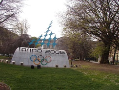 2006 Olympics logo on display in the Carlo Felice Square, in Turin