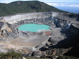 Poás Volcano Crater is one of Costa Rica's main tourist attractions.