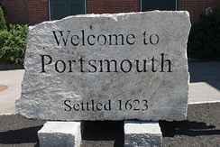 Welcome sign in downtown Portsmouth