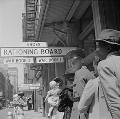 1943 waiting line at wartime Rationing Board office in New Orleans
