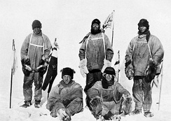 The film recreates this sombre photograph taken by Scott and his crew at the South Pole