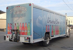 Truck advertising the Seagram's Escapes brand of ready-to-drink alcoholic beverages