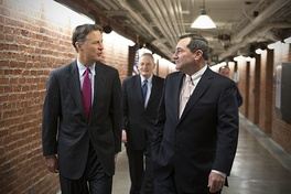 Senator Joe Donnelly, with former Senator Birch Bayh and his son, former Governor of Indiana and Senator Evan Bayh