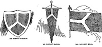 Sketches for the flag from a contest from 1892. This design ultimately became used in the municipal device.[21]