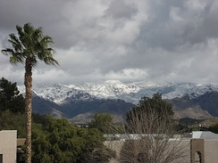 The nearby Santa Catalina Mountains, covered in snow