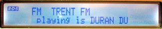 Sample Radio Text usage, in this case showing the name and artist of the song being broadcast - Duran Duran's Save a Prayer - the bottom line scrolls to reveal the rest of the text.