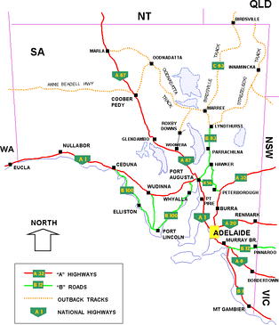 South Australian cities, towns, settlements and road network