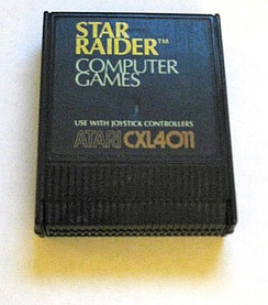 A Star Raiders read-only memory (ROM) cartridge for an Atari computer.