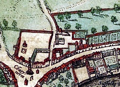 Map showing St Martin-in-the-Fields, circa 1562, where Mary and William Dyer were married in 1633