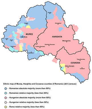 Ethnic map of Harghita, Covasna, and Mureș Counties based on the 2011 data, showing localities with Hungarian majority or plurality.