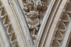 The Lincoln Imp high above the choir on the southern side of Lincoln Cathedral