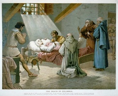 The death of Columbus, lithograph by L. Prang & Co., 1893