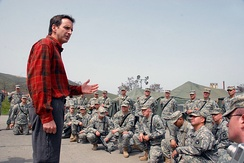 Tim Pawlenty meeting Minnesota National Guard troops in Kosovo (April 12, 2008)