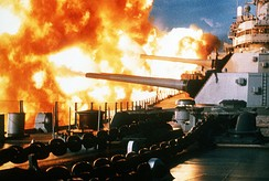 USS New Jersey fires a salvo against targets in the Shouf, 9 January 1984