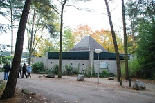 The former church at CP Het Vennenbos. Because Derksen was a Catholic, he decided to build small churches at his parks. There was a similar church at Sherwood Forest which has since been converted into a Starbucks.
