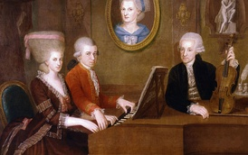 The Mozart family c. 1780. The portrait on the wall is of Mozart's mother.