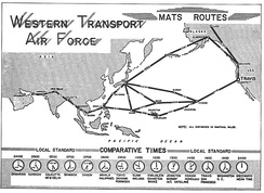 Route map of the Western Transport Air Force, 1964
