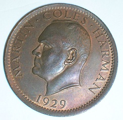 One Puffin coin of 1929, bearing the portrait of Martin Coles Harman
