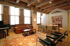 The interior of a loft condominium in Chicago's west side, USA