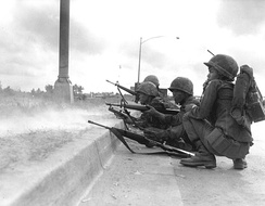 Vietnamese Rangers in action in Saigon during the Tet Offensive in 1968