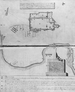 A manuscript map with a diagram of the Alamo complex. Mexican artillery are shown positioned at the northwest, southwest, and south with their projected trajectory reaching all of the north, west, and south walls.