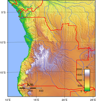 Topography of Angola.