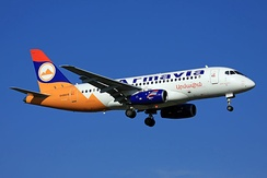 The Armenian flag formed the basis of the livery of Armavia, seen here on one of the airline's Sukhoi Superjets.